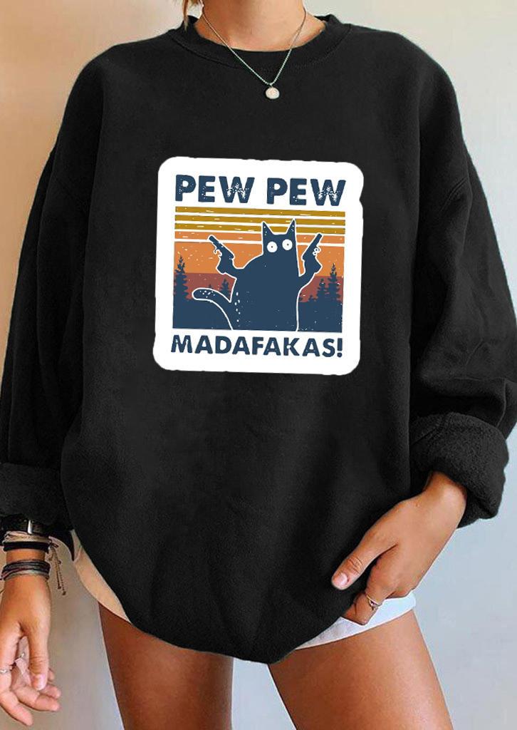 Pew Madafakas Cat LongSleeve Sweatshirt - Black