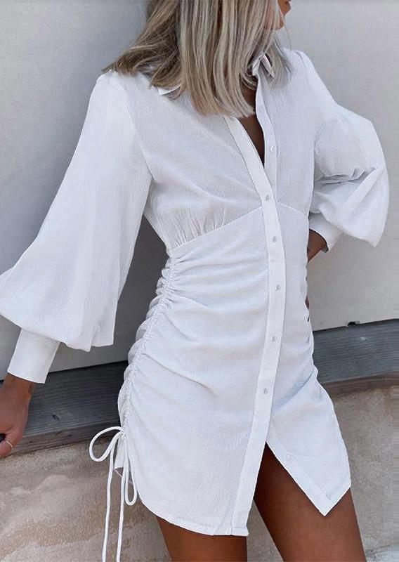 Ruffled Tie Turn-down Collar Mini Dress - White
