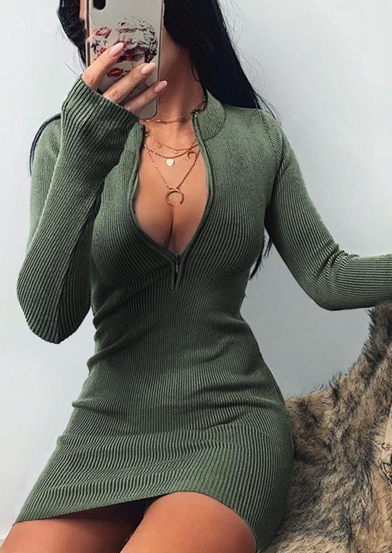 Zipper Collar Long Sleeve Bodycon Dress - Green