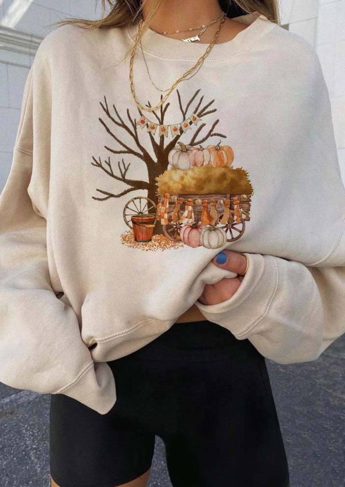 Autumn Pumpkin Long Sleeve Sweatshirt - Beige