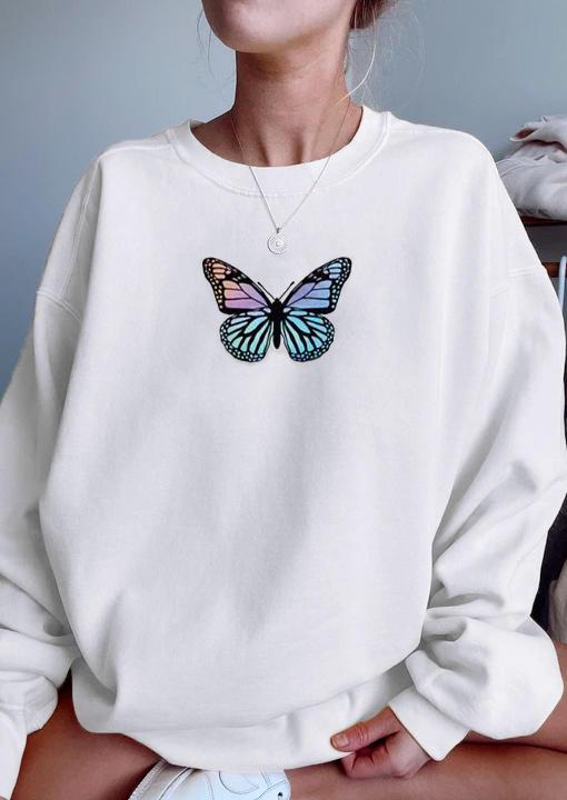 Butterfly Long Sleeve Sweatshirt - White