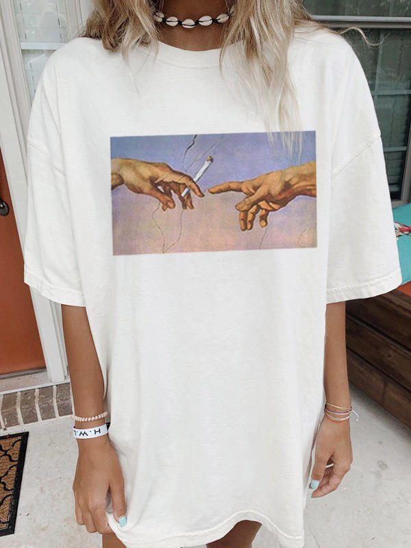 Hand Oil Painting O-Neck T-Shirt Tee - White