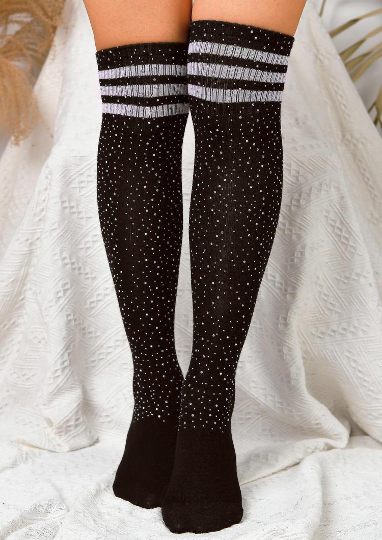 Striped Rhinestone Thigh-High Socks