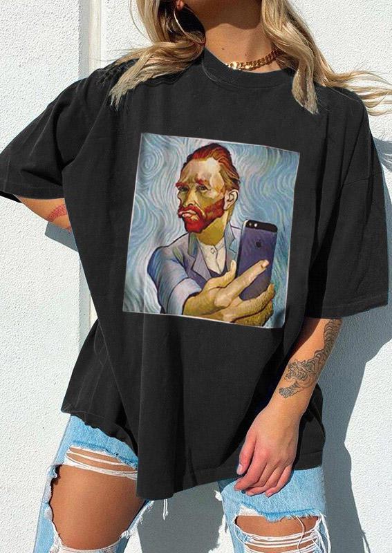 Funny Van Gogh Selfie T-ShirtTee - Black