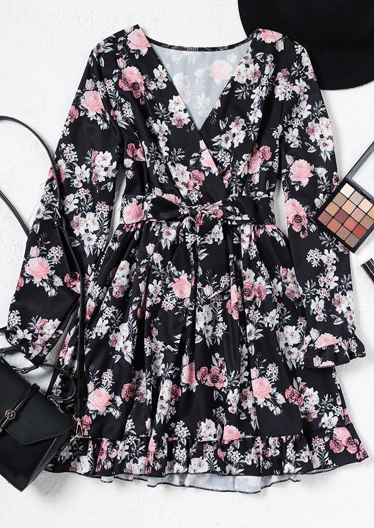 Wrap Floral Ruffled LongSleeve V-Neck Mini Dress - Black