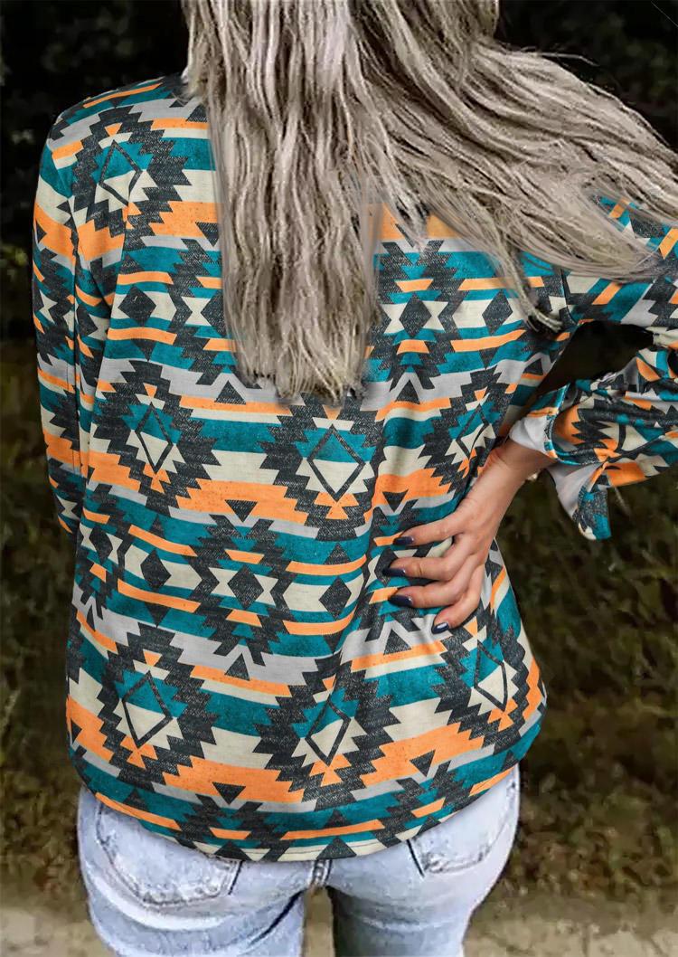 AztecGeometric LongSleeve Coat