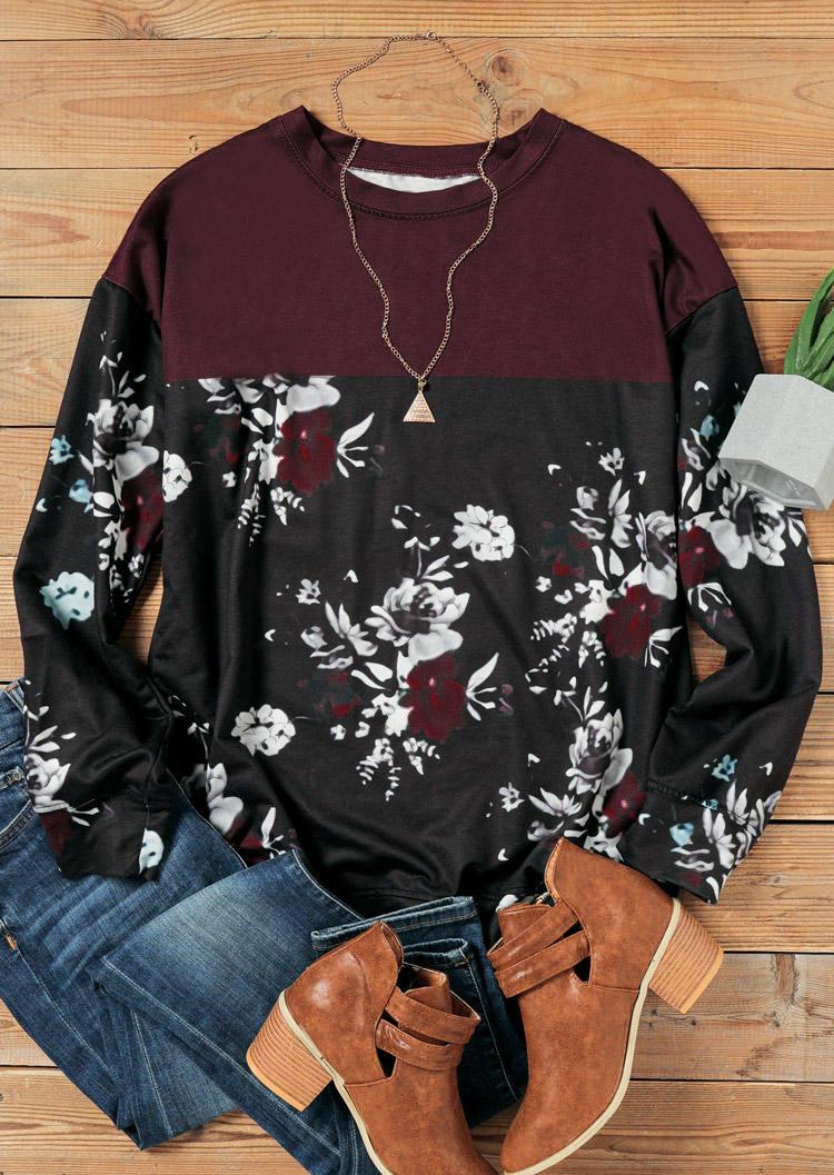 Floral Color Block LongSleeve Sweatshirt