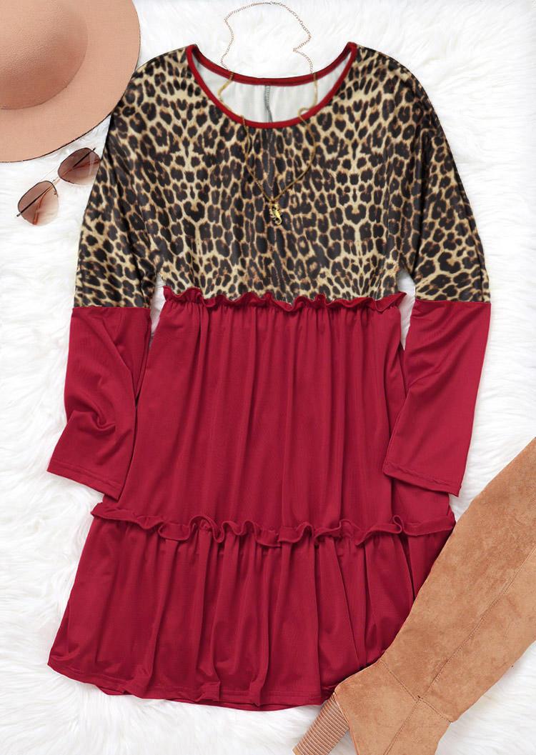 Leopard Ruffled Splicing LongSleeve Mini Dress