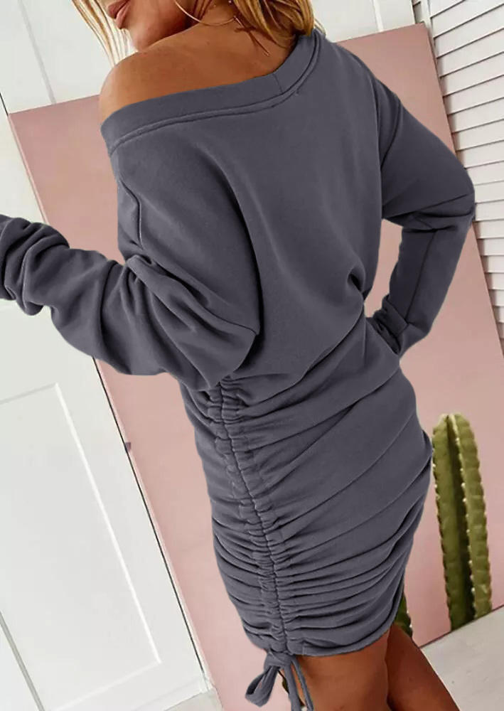 Ruched Drawstring Long Sleeve Bodycon Dress - Gray