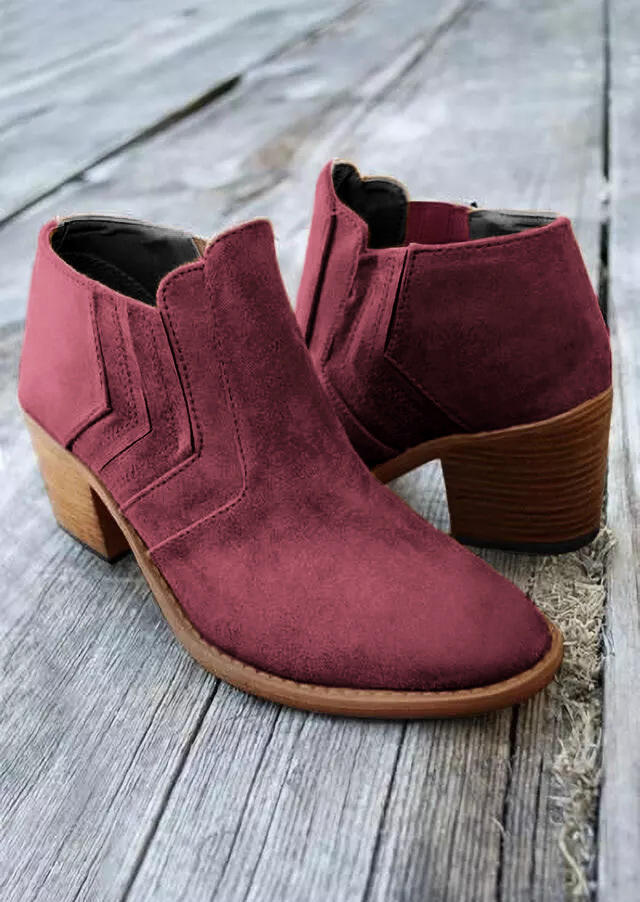 Ruffled Round Toe Heeled Boots - Burgundy