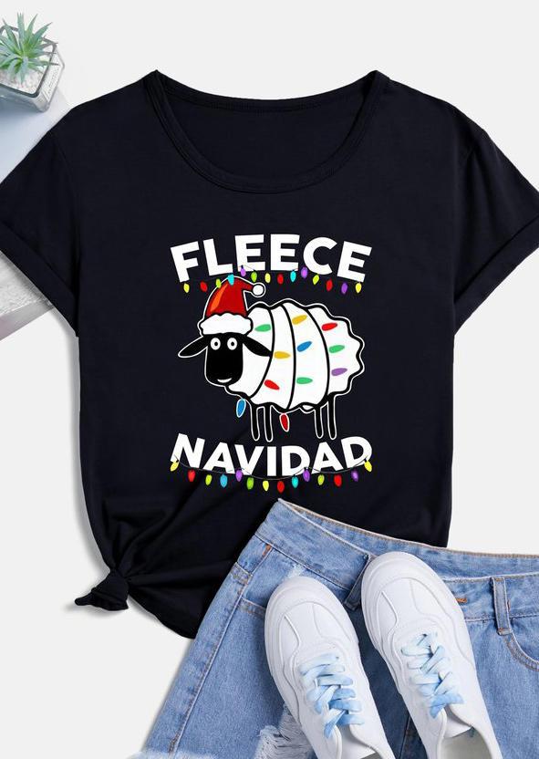 Fleece Navidad Sheep Christmas Lights T-Shirt Tee - Black
