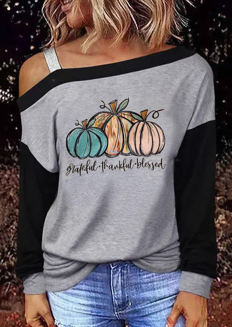Greatful Thankful Blessed Pumpkin Cold Shoulder Blouse - Gray