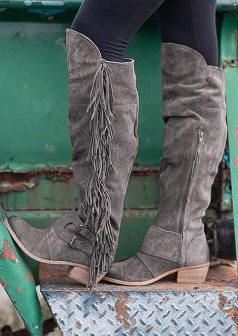 Tassel Zipper Round Toe Heeled Boots - Gray