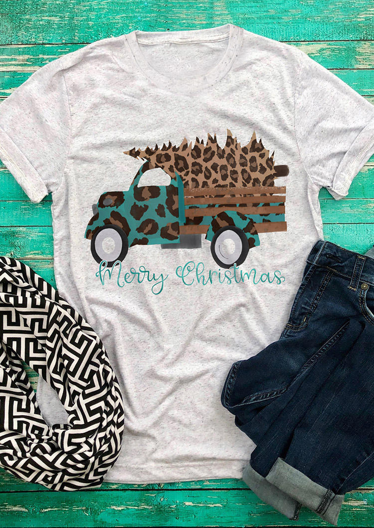 Merry Christmas Leopard T-ShirtTee - Light Grey