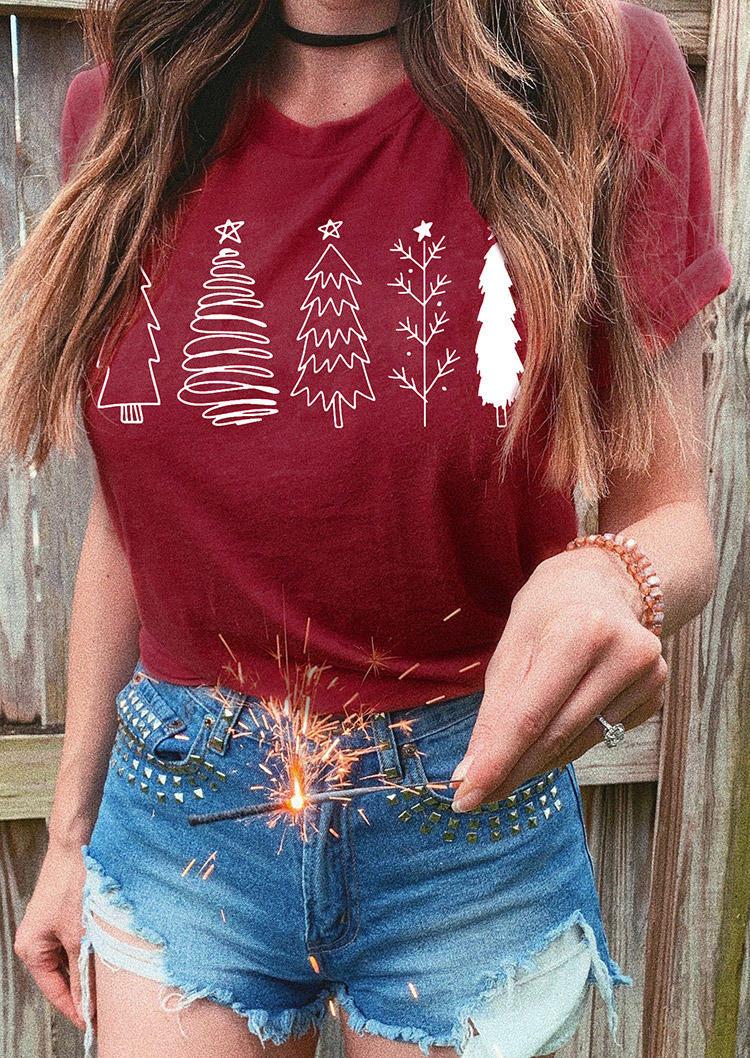 Christmas Tree T-ShirtTee - Burgundy