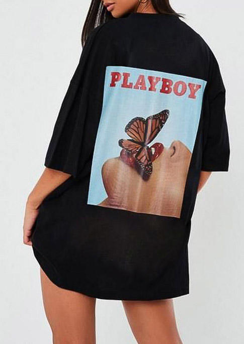 Playboy Butterfly Graphic T-Shirt Tee - Black