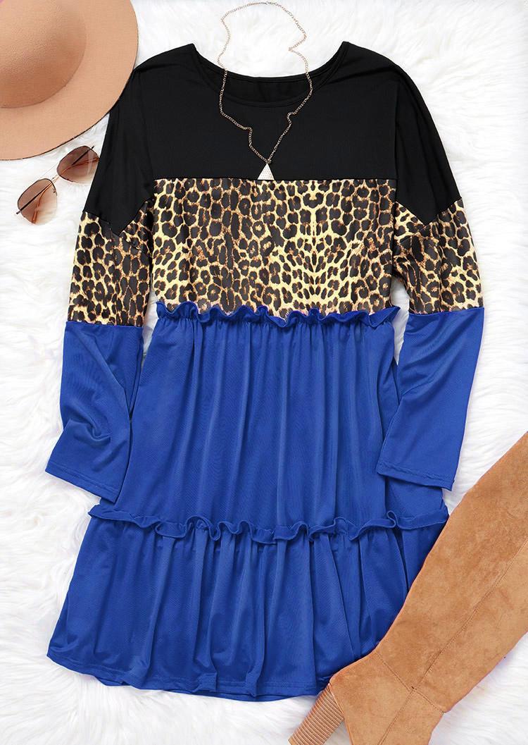 Leopard Color Block Ruffled Splicing Mini Dress - Blue