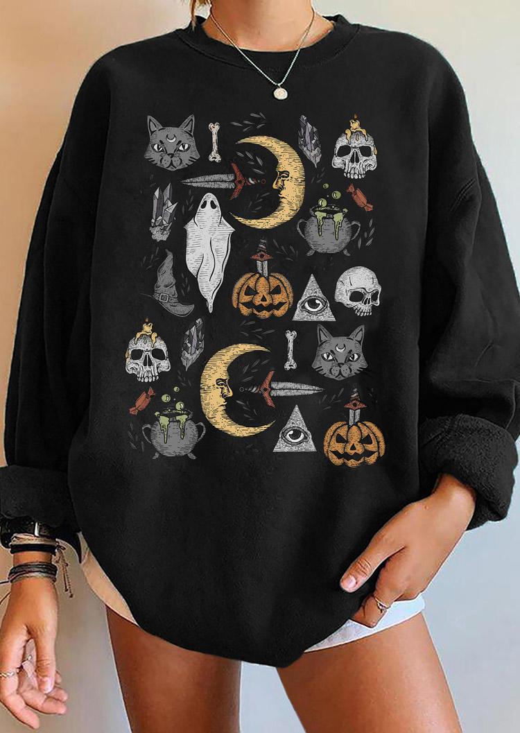 Halloween Skull Pumpkin Ghost Moon Sweatshirt - Black