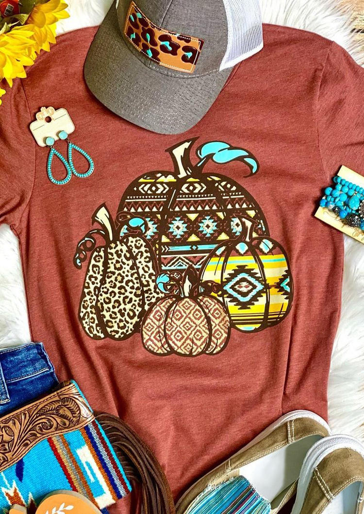 Thanksgiving Aztec Geometric Leopard Pumpkin T-Shirt Tee - Orange