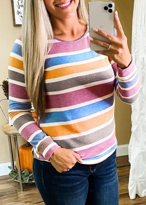 Colorful Striped Raglan Sleeve Blouse