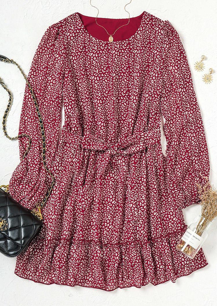 Ruffled LongSleeve O-Neck Mini Dress With Belt - Red
