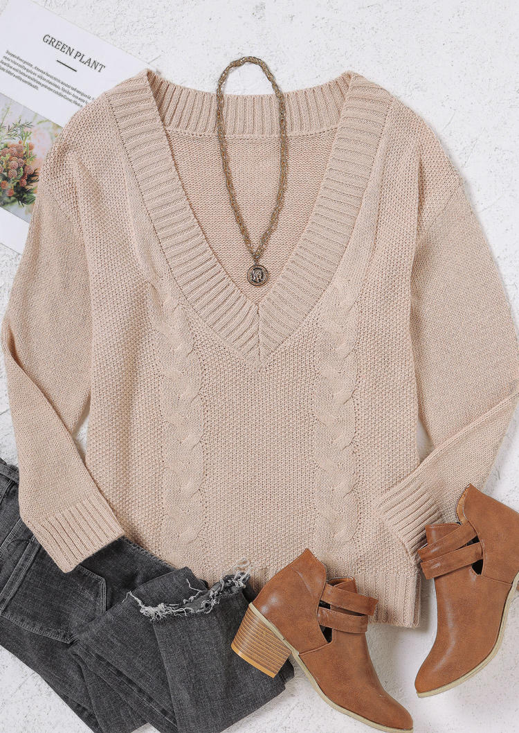Twist Knitted V-Neck LongSleeve Sweater - Apricot