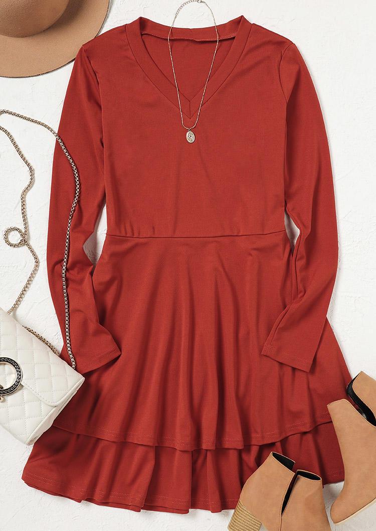 Ruffled Layered V-Neck Long Sleeve Mini Dress - Red