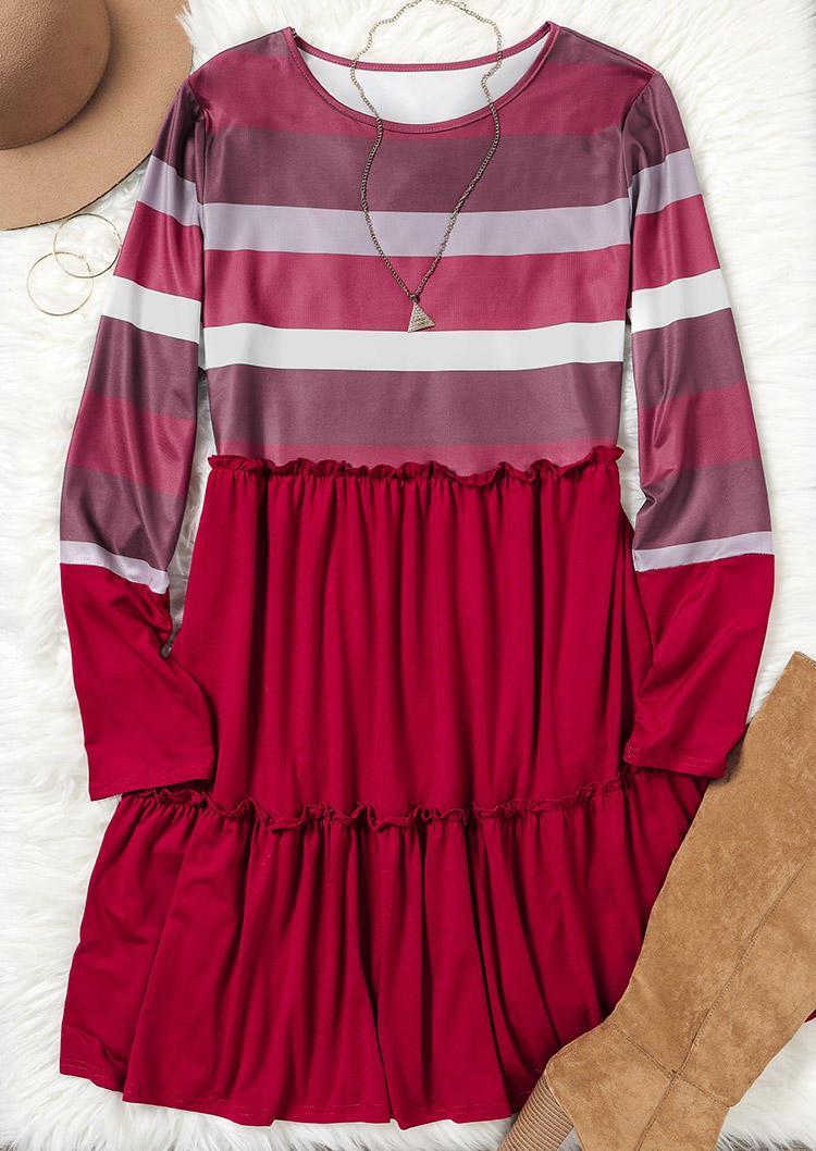 Color Block Striped Ruffled Mini Dress