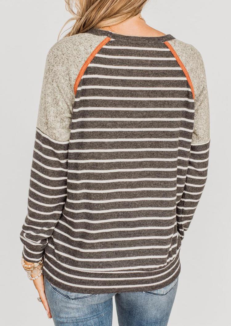 Striped Color Block Raglan Sleeve Blouse - Gray