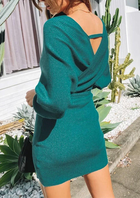 Knitted Wrap Hollow Out Deep V-Neck Bodycon Dress - Green