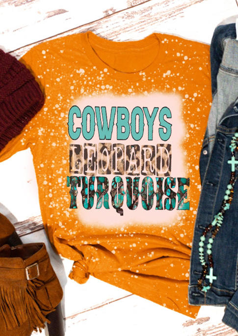 Cowboys Leopard Turquoise Bleached T-ShirtTee - Orange
