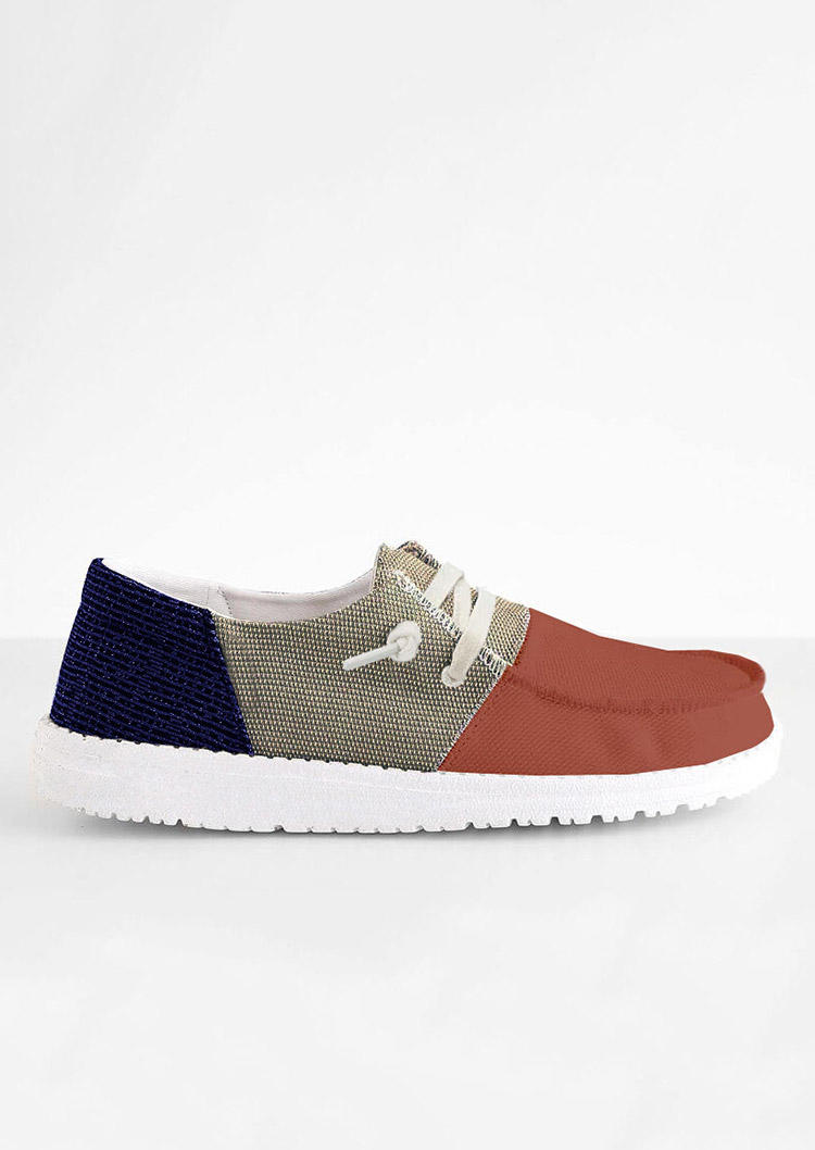 Color Block Slip On Flat Canvas Sneakers