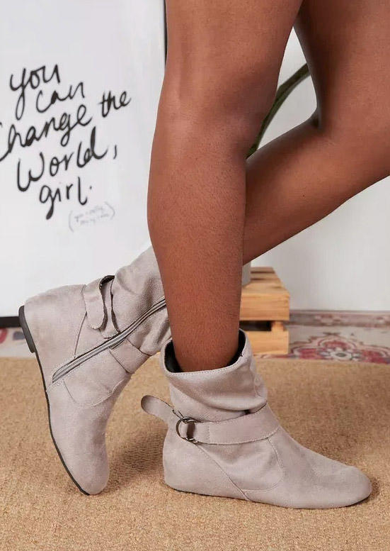 Zipper Round Toe Flat Ankle Boots - Gray