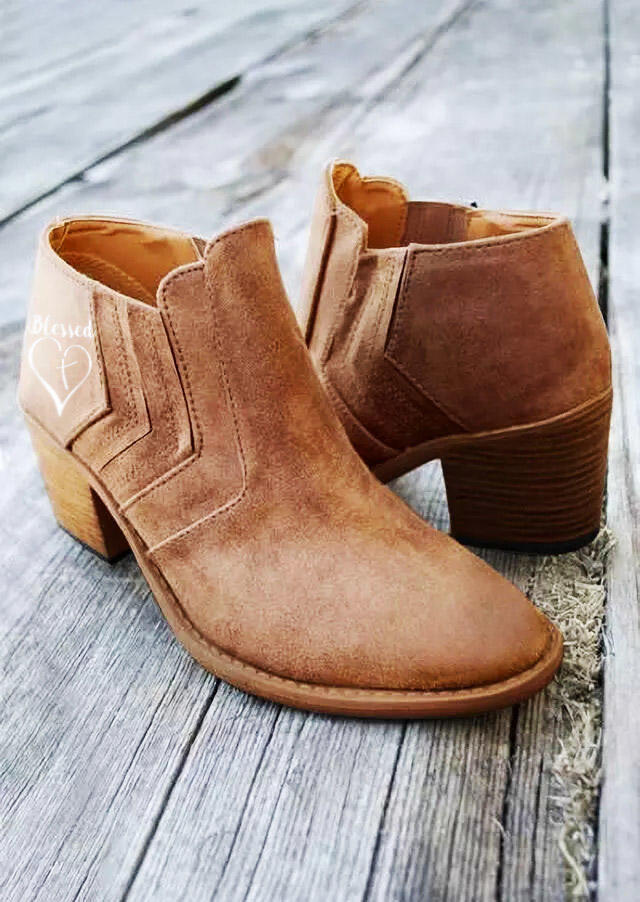 Blessed Love Ruffled Round Toe Heeled Boots - Brown