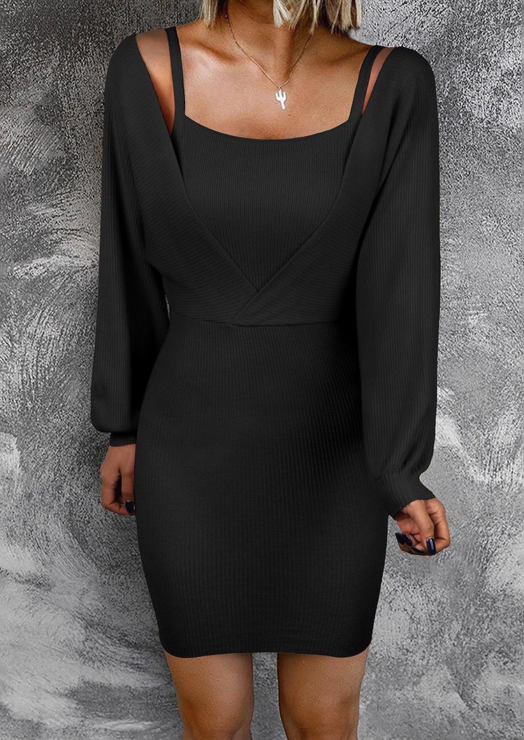 Wrap LongSleeve Sweater Bodycon Dress - Black