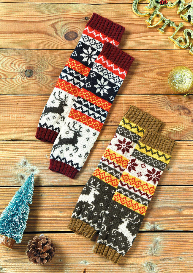 Reindeer Warm Knitted Fingerless Gloves