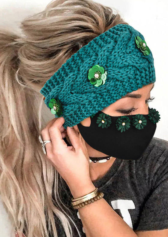 2Pcs Floral Knitted Headband And Mask Set in Black,Cyan. Size: One Size