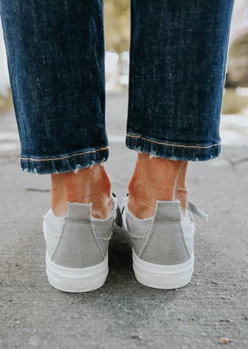 Cross Zipper Slip On Flat Canvas Sneakers - Gray