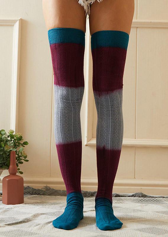 Color Block Warm Thigh-High Socks