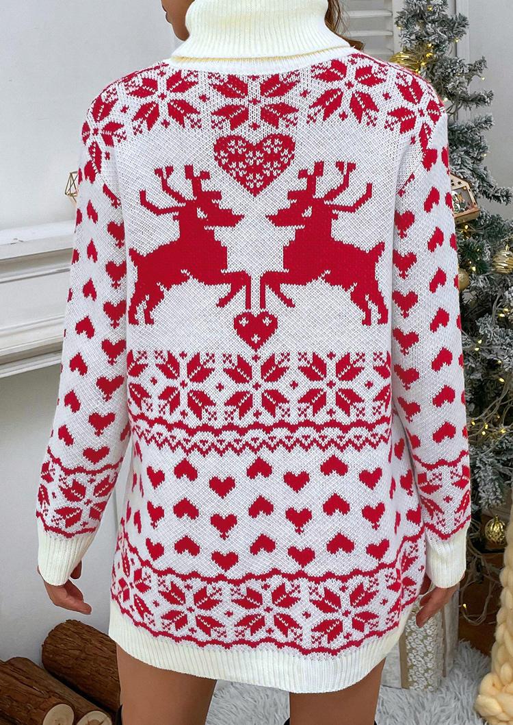 Christmas Reindeer Heart Turtleneck Mini Dress - Red