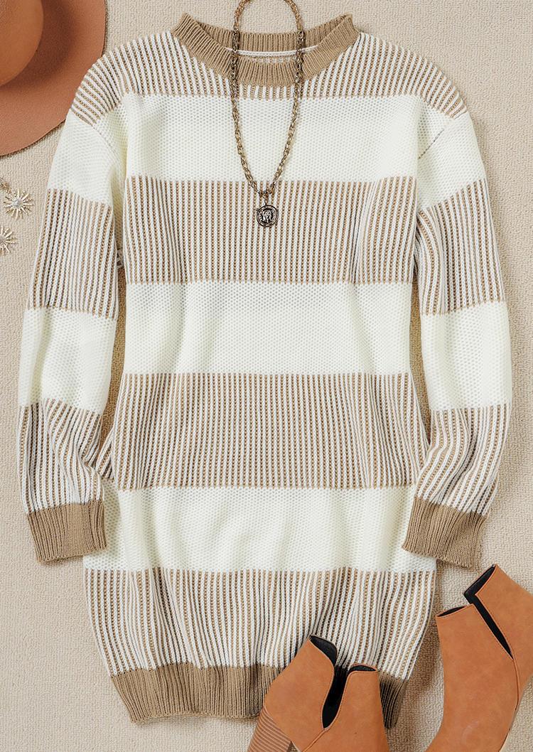 Striped O-Neck LongSleeve Sweater Mini Dress - Khaki