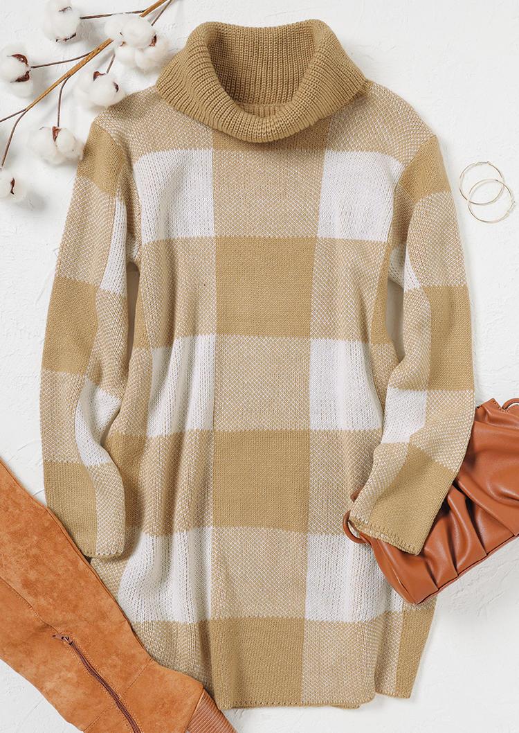 Plaid Turtleneck Long Sleeve Sweater Mini Dress - Khaki