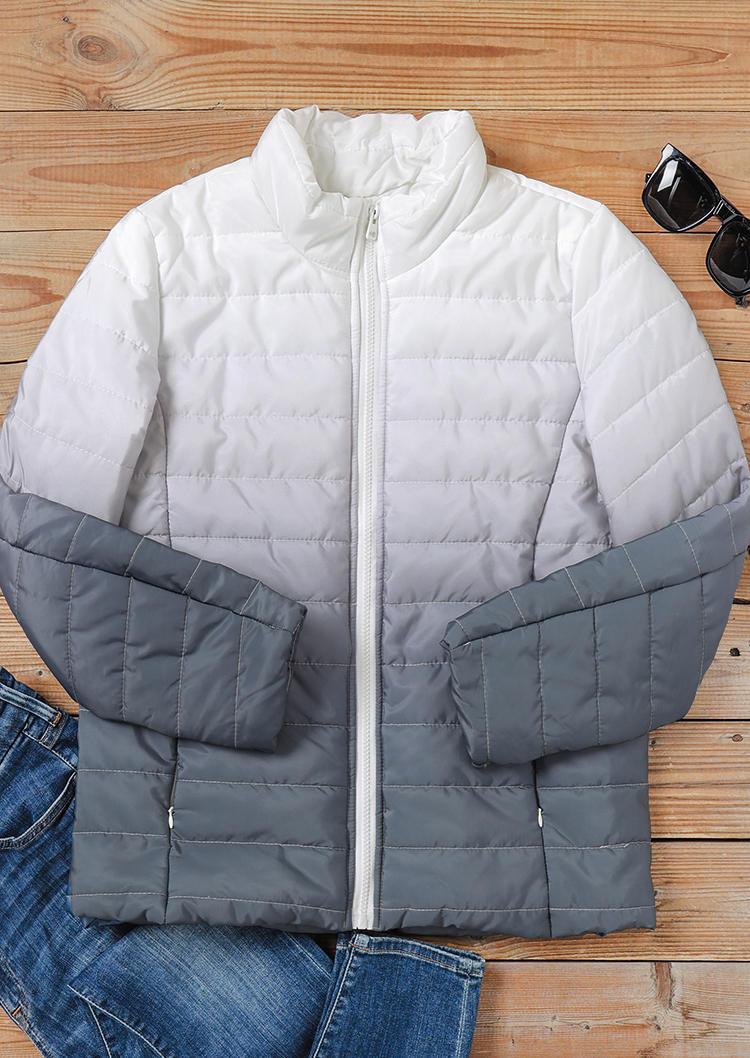 Gradient Pocket Zipper LongSleeve Coat - Gray