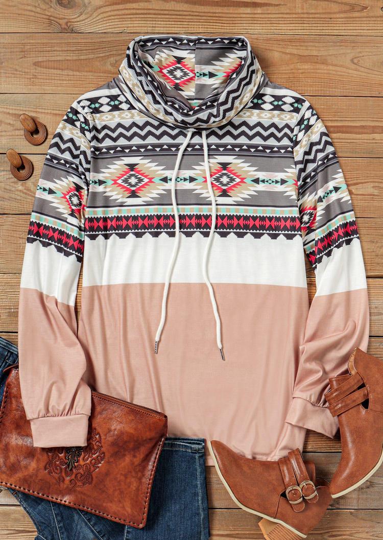 AztecGeometric LongSleeve Sweatshirt