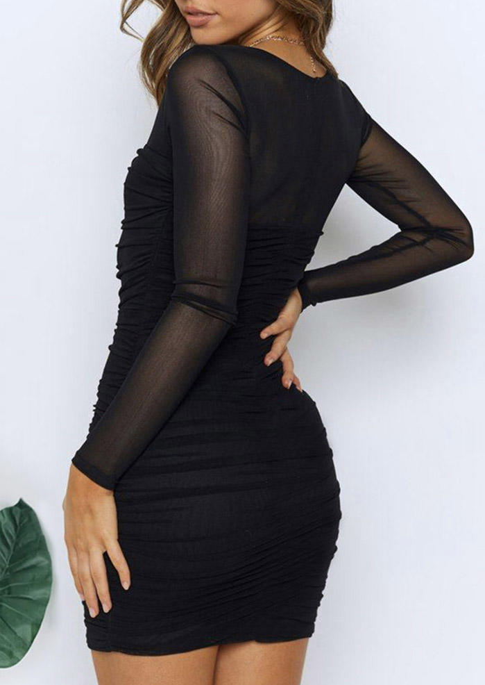 Ruched See-Through LongSleeve Bodycon Dress - Black
