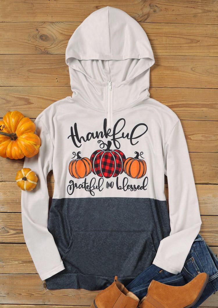 Thankful Grateful And Blessed Plaid Pumpkin Zipper Hoodie