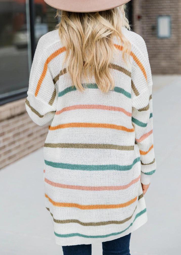 Colorful Striped Pocket Long Sleeve Cardigan - White