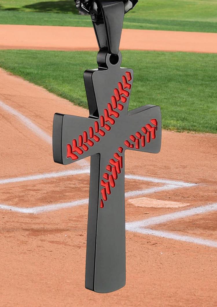 Baseball Cross Pendant Necklace