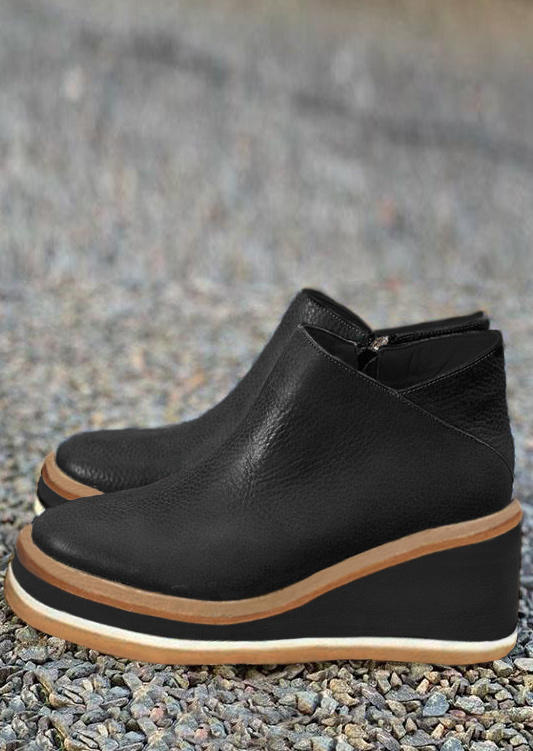 Zipper Round Toe Wedged Ankle Boots - Black