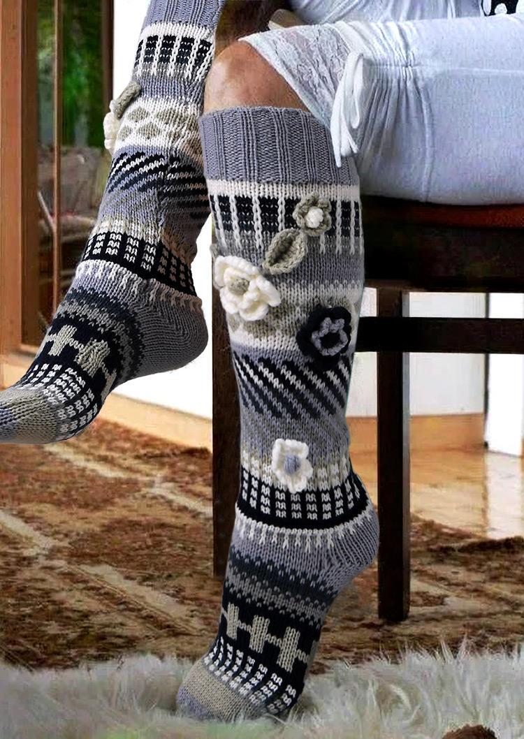 Flower Knitted Leg Warmers Socks